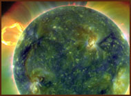 Picture of solar storm on the Sun.
