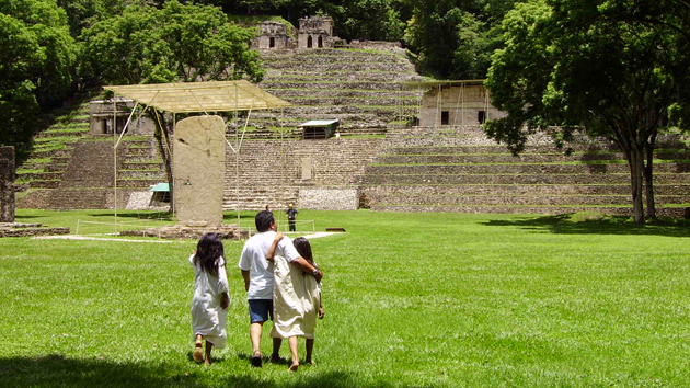 "The Bonampak archaeological site features open plazas that are surrounded by several platforms, moderately sized pyramids and several carved <a href='#' class='glossary-tip' title=""A monument shaped like a column, usually monolithic, inscribed with a commemorative, funerary, or ceremonial function."">stelae</a>.&nbsp;<span class='italic'>Photo Credit:&nbsp;Nancy C. Maryboy</span>"