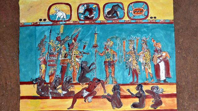 "Reproduction of mural in Room 2. Members of King Ahau Chan Muwan's court display their power over the defeated rivals in a brutal battle scene. Up above, two Maya <a href='#' class='glossary-tip' title=""Defined patterns formed by groupings of prominent stars in the night sky."">constellations</a> bear witness to the event and may link the battle scene to the Maya <a href='#' class='glossary-tip' title=""A symbolic narrative of how the world came to be and how humans first appeared on Earth."">creation story</a>. The Peccaries (Pleiades) and the Turtle (Orion) would have been visible in the late night sky on the date of the battle. &nbsp;<span class='italic'>Photo Credit:&nbsp;Patricia Margarita Martín Morales</span>"
