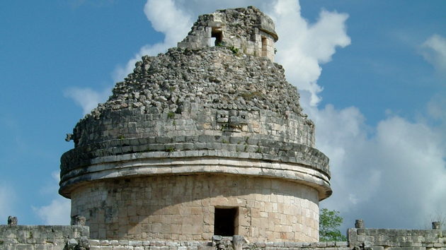 "The Caracol, also known as the Observatory. ""Caracol"" means snail, and the structure was given this name after the central spiral staircase that mimicks the inside of a snail's shell. It is believed that the ancient Maya used this structure to observe the rising and setting positions of Mars, Venus, and the Sun.&nbsp;<span class='italic'>Photo Credit:&nbsp;Isabel Hawkins</span>"