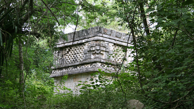 """Un friso decorado en """"Tres Dinteles"""", uno de los edificios de """"Chichén Viejo"""". Este complejo ha sido levemente excavado y es accesible solamente a arqueólogos. La mayoría del legado arqueológico de los antiguos mayas está por ser descubierto.&nbsp;<span class='italic'>Crédito de imagen:&nbsp;Ideum/UC Regents</span>"""