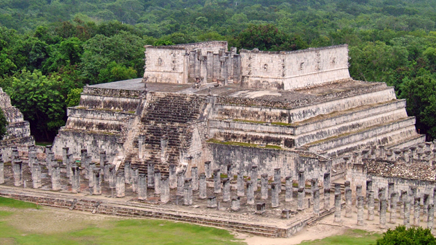 "The Temple of the Warriors. Twice a year, on the dates of the <a href='#' class='glossary-tip' title=""In tropical latitudes, the moment when the Sun, in its apparent motion caused by the rotation of the Earth, passes through a point directly above the observer twice a year."">zenith passage</a>, the Sun sets in alignment with the East-West axis of this structure.&nbsp;<span class='italic'>Photo Credit:&nbsp;Ideum/UC Regents</span>"