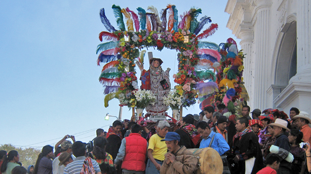 "The statue of San Sebastián, one of several important saints inside the church, is taken on parade by members of one of Chichicastenango's fourteen <a href='#' class='glossary-tip' title=""Confraternities or honorary councils of Maya religious leaders common in Chiapas and Guatemala. Cofradías interpret Catholic ritual and symbolism using Maya beliefs and worldview."">Cofradías</a>. &nbsp;<span class='italic'>Photo Credit:&nbsp;Felipe Tapia Chablé</span>"