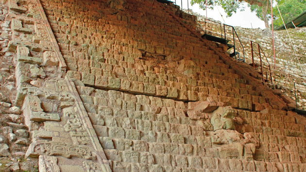 "The <a href='#' class='glossary-tip' title=""The script or writing system of the ancient Maya of Mesoamerica, found inscribed in stone, pottery, bone, jade, accordion folded books, stucco, and other surfaces."">Hieroglyphic</a> Stairway, with more than 1,250 glyph blocks, is the longest inscribed hieroglyphic text of the Americas.  The histories of battles and conquests are carved on the face of wide steps going up a tall pyramid.  The story highlights the accomplishments of the ancestors of King ""Smoke Shell.""  &nbsp;<span class='italic'>Photo Credit:&nbsp;Julián Cruz Cortés</span>"