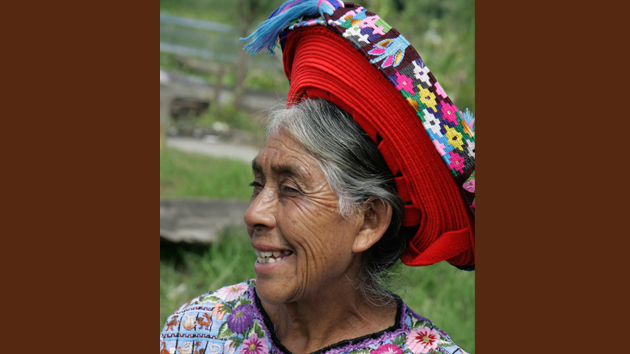 A woman from Santiago Atitlán is wearing the unique wrapped-ribbon headdress. The ribbon is almost 30 feet (10 meters) long. &nbsp;<span class='italic'>Photo Credit:&nbsp;Istock: Paco Romero</span>