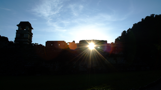 Palenque is known for its many astronomical alignments where celestial objects, particularly the Sun and the Moon, rise or set in line with important achitectural features of the site's buildings.&nbsp;<span class='italic'>Photo Credit:&nbsp;Igor Ruderman/UC Regents</span>