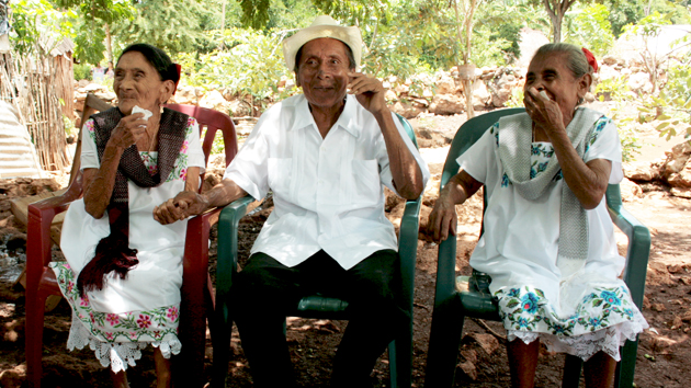 "Three hundred years of combined wisdom from Maya elders. Doña Natalia Canul Che' (left), Don Eleuterio Tzek Caamal, and Doña Francisca Uc Colli shared their knowledge of medicinal plants and astronomy. They told of ""<a href='#' class='glossary-tip' title=""Meaning ""rattle of the snake"" in Yucatec Mayan, this is what the contemporary Maya of Yucatán call the Pleiades in the Greek constellation of Taurus."">tzab</a>"" and how they waited for the ""rattle of the snake"" to appear in the eastern horizon right before sunrise to time the planting of corn.&nbsp;<span class='italic'>Photo Credit:&nbsp;José Huchim Herrera</span>"