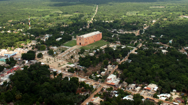This aerial view of Nohcacab shows the town's Catholic church located above the central plaza.&nbsp;<span class='italic'>Photo Credit:&nbsp;Ideum/UC Regents</span>