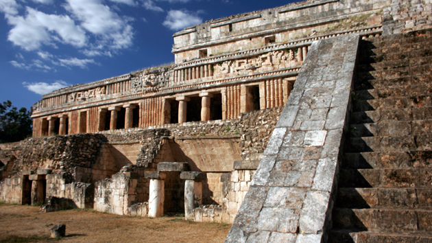 "The Palace at the Sayil Archaeological Site in the <a href='#' class='glossary-tip' title=""Meaning ""mountain"" in Yucatec Mayan, Puuc is a region in the northwest of the Yucatán Peninsula. It is also a style of architecture characterized by skilled ornamentation."">Puuc</a> region. Sayil means ""Place of the Muleteer Ants"" in <a href='#' class='glossary-tip' title=""One of several Mayan languages, spoken in the Yucatán peninsula and parts of Chiapas and Guatemala."">Yucatec Mayan</a>. The site hosted up to 17,000 inhabitants.&nbsp;<span class='italic'>Photo Credit:&nbsp;Ideum/UC Regents</span>"