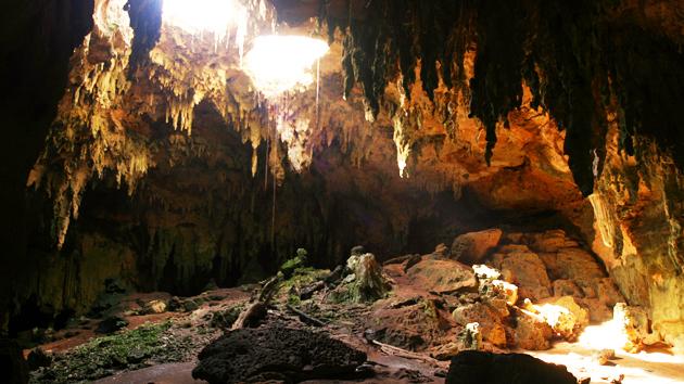 """El yacimiento arqueológico Loltún, un sistema de cavernas subterráneas, alberga evidencia de la presencia humana más antigua en el área <a href='#' class='glossary-tip' title=""""Significa """"montaña"""" en maya yucateco; una región al noroeste de la península de Yucatán. Un estilo arquitectónico caracterizado por una fina ornamentación."""">Puuc</a>, abarcando desde el 9000 a.C. hasta 1250 d.C. Loltún significa """"Flor de piedra"""" en <a href='#' class='glossary-tip' title=""""Uno de los idiomas mayas, hablado en la península de Yucatán, y con variantes que se hablan en partes de Chiapas y Guatemala. """">maya yucateco</a>. Las cuevas tienen un significado importante para los mayas, quienes creen que son los portales del <a href='#' class='glossary-tip' title=""""El mundo de nueve niveles subterráneos de los ancestros mayas y de las deidades tenebrosas. También conocido como Xibalbá."""">inframundo</a>.&nbsp;<span class='italic'>Crédito de imagen:&nbsp;Ideum/UC Regents</span>"""
